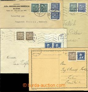 25513 - 1939 4 pcs of entires with frankings parallel Czechosl. stam