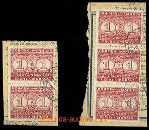 25575 - 1940 Pof.PD1 2x cut square with stamps food tax, 1x double s