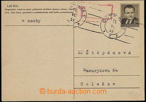 25581 - 1953 CDV109Pb with MC Ostrava 11.VI.53, postmark T, without