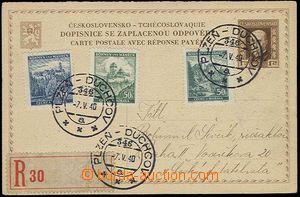 25600 - 1940 CDV34/I. as parallel in Bohemia-Moravia, sent as Reg ra