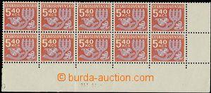 25643 - 1971 Pof.D102ya, Květy, 10-blok známek 5,40Kčs, papír f1