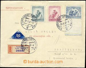 25704 - 1937 heavier Reg letter strictly private, with set of stmp F