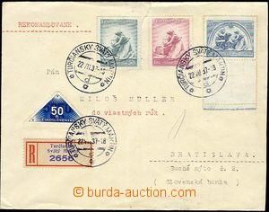 25704 - 1937 těžší R-dopis do vlastních rukou, vyfr. sérií zn