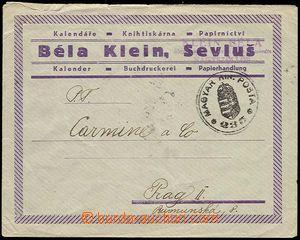 25705 - 1938 Podkarpatská Rus, firemní obálka vyfr. na zadní str
