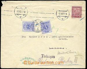 25706 - 1938 tiskopis zaslaný do Levice, zn. 30h Znak, SR Praha 3.X