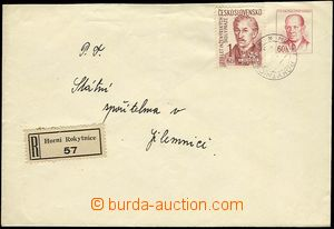 25730 - 1957 COB10 sent as Reg, uprated by. 1 Koruna stamp., Pof.946