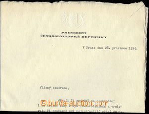 25741 - 1954 ZÁPOTOCKÝ Anthony, signature president on/for acknowled