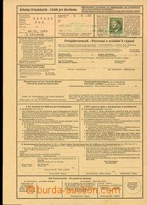 25743 - 1943 lístek pro dovolenou s uhrazeným poplatkem poštovní