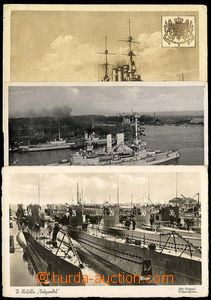 25757 - 1943 comp. 3 pcs of Ppc war ships, 1x view of submarine at t