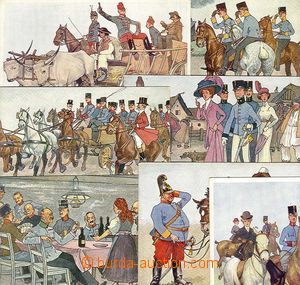 25776 - 1910 7 pcs of color drawn Ppc themed soldiers and civilové,