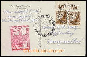 25839 - 1939 postcard Cheb franked with. airmail stmp Mi.2x 533 with