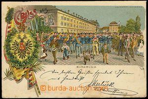 25866 - 1900 WIEN -  Burgmusik Neumarkt barracks, color lithography,