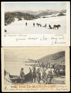 25867 - 1900 sestava 2ks pohlednic, rybáři a lidé na saních, 1x