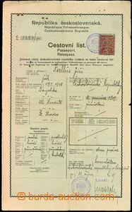 25888 - 1919 Czechoslovak traveller's sheet vyhotovený on/for konzu