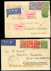 25900 - 1930 2 letecké dopisy z Anglie do ČSR, 1x přes Paříž,