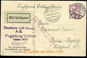 25904 - 1927 pohlednice : pilot Clarence Chamberlin před letadlem,