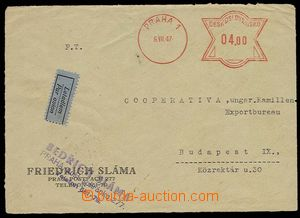 25934 - 1947 by air mail sent commercial letter  to Hungary, franked