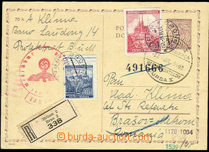 25957 - 1940 CDV7 sent as Reg to Rumania, uprated by. stamps 40h + 1