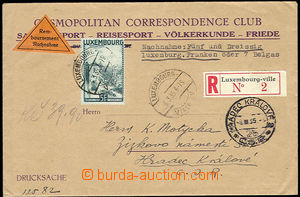 25963 - 1935 Reg letter as printed matter with C.O.D. to Czechoslova