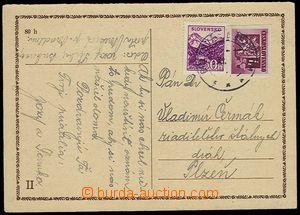 25971 - 1945 slovenská CDV12/II.díl s přelepem slov. zn. 30h Alb.