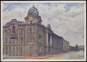 25983 - 1938 MORAVSKÁ OSTRAVA - school, drawn, color, with swastika