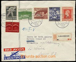 25992 - 1946 air-mail Reg letter to Czechoslovakia, franked by multi