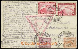 26029 - 1933 pohlednice přepravená vzducholodí Graf Zeppelin na S
