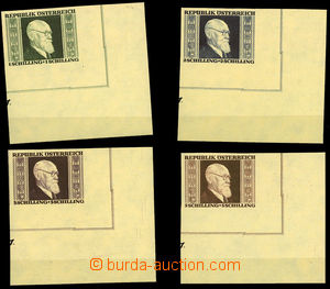 26067 - 1946 Mi.772-775B Renner, imperforate corner pieces, c.v.. 33