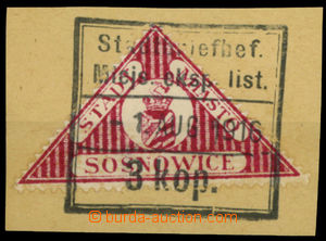 26095 - 1916 cut square with stmp Mi.5 town post SOSNOWICE, framed p