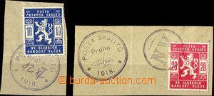26106 - 1918 dva výstřižky se známkami Pof.SK1, 2 a razítky NV