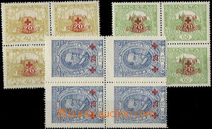 26141 -  Pof.170-172, Red Cross as blk-of-4, by/on/at No.172 combina