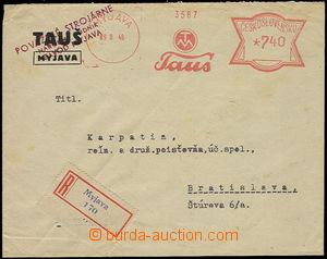 26157 - 1946 Reg letter former f. Tauš, later works Myjava, franked