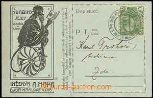 26168 - 1915 reklamní lístek Ing.Hora -  turbiny a jezy s kresbou