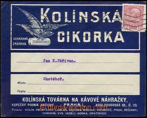 26188 - 1913 reklamní obálka Kolínská cikorka, vyfr. zn. Mi.144,