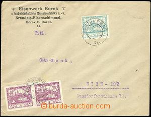 26225 - 1919 dopis do Vídně, vyfr. 2-páskou Pof.2 + Pof.8, nezoub
