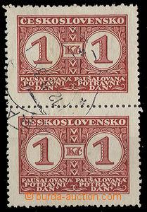 26254 - 1935 Food tax  1Kč in vertical 2 stripe, Pof.PD9B.
