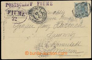 26297 - 1908 Postschiff FIUME  fialové řádkové raz. + oválné F