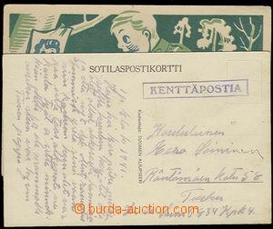 26301 - 1941 Field post  KENTTÄPOSTIA, 2  pcs Ppc with frame cancel