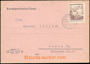 26342 - 1948 CZECHOSLOVAKIA 1945-92  official card - declaration,  w