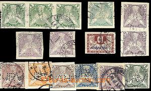 26343 - 1918 sestava 15ks novinových známek s perfiny (4 druhy), t