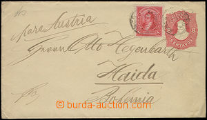 26351 - 1891 postal stationery cover 8c uprated with stamp 8c, Mi.77