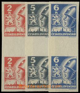 26369 - 1945 Košice-issue 2 stamp. vert. gutter, Pof.Ms354-56, c.v.