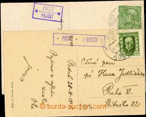26399 - 1925 poštovna PADRŤ (Mirošov) na dvou pohlednicích, 1x z