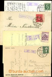 26407 - 1927 - 1941 4ks celistvostí s razítkem poštovny SKRYJE (S