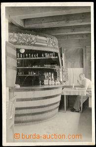 26621 - 1941 ISTEBNA - fotopohlednice, výčep ve tvaru sudu, pošto