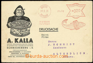 26647 - 1933 meter stmp A. Kalla Šmíderberk / 31.8.33, on/for larg