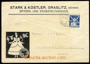 26657 - 1921 Stark & Köstler Kraslice, firemní přítisk na předn