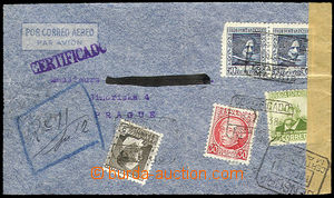 26667 - 1938 air-mail Reg letter sent from Madrid 18.Feb.38 to Pragu