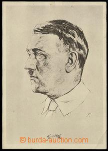 26694 - 1933 A. Hitler, painted portrait with facsimile signature, U