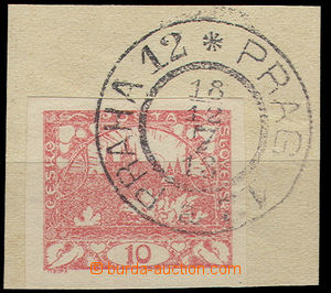 26698 - 1918 first day issue., cut square with stamp. 10h,  CDS Prag